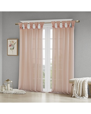 """Madison Park Rosette Floral Embellished Cuff Tab Top Solid Window Treatments Curtain Panel Drape for Bedroom Living Room and Dorm, 50"""" W x 84"""" L, Blush"""