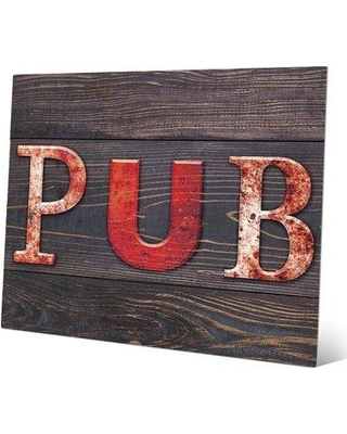 "Click Wall Art 'Red Pub Wood Planks ' Textual Art on Plaque MCV0000151MTL Size: 20"" H x 30"" W x 1"" D"