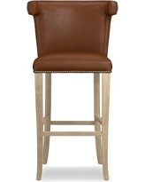 Regency Stool, Bar, Grey, Tuscan Leather, Bourbon
