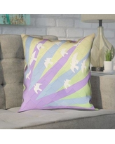"""Brayden Studio Enciso Birds and Sun 100% Cotton Pillow Cover BYST7149 Size: 26"""" H x 26"""" W, Color: Purple/Blue/Yellow"""