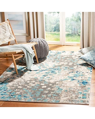 Safavieh Madison Collection MAD425E Boho Abstract Distressed Area Rug, 3' Square, Grey/Blue