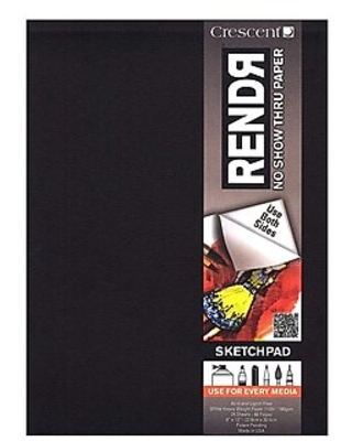 Crescent Rendr No Show Thru Drawing Pad 9 In. X 12 In. Tapebound Pad Of 24 Sheets [Pack Of 2] (2PK-12-00012),Size: med