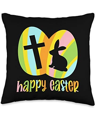 BW Easter Happy Easter Bunny Egg Hunt Basket Christian Throw Pillow, 16x16, Multicolor