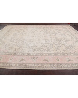 """One-of-a-Kind Hand-Knotted 1960s Tabriz Ivory/Pink 9'9"""" x 12'9"""" Wool Area Rug Rugsource"""