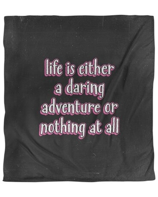 Life Adventure Quote Single Duvet Cover East Urban Home Color: Black/Pink, Size: Queen Duvet Cover