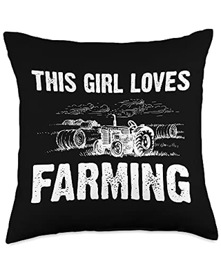 Best Tractor & Livestock Crop Husbandry Designs Funny Gift for Girls Kids Farmer Tractor Farming Crop Throw Pillow, 18x18, Multicolor