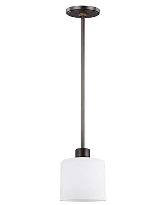 Sea Gull Lighting Generation 6128801-710 Transitional One Light Pendant from Seagull-Canfield Collection in Bronze/Dark Finish, Burnt Sienna