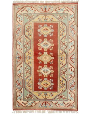 """One-of-a-Kind Hales Hand-Knotted 1990s Ushak Beige/Red 5'3"""" x 8'7"""" Wool Area Rug Isabelline"""