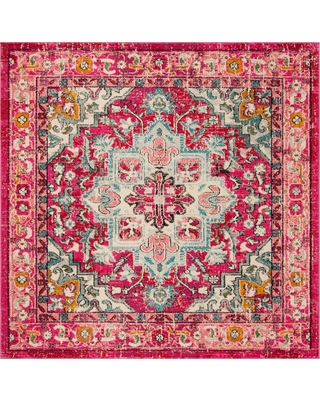 """Fuchsia Floral Loomed Square Area Rug 6'7""""X6'7"""" - Safavieh, Blue Pink"""