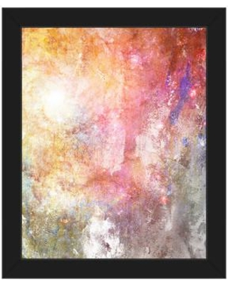 "Click Wall Art 'Gold Rose Galaxy' Framed Graphic Art ABS0000902F Format: Black Framed Size: 16.5"" H x 13.5"" W"