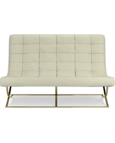 James Loveseat, Brass, Faux Suede, Solid, Stone
