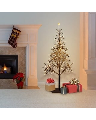 Alpine Corporation Artificial Golden Christmas Tree with Warm White LED Lights (Gold)