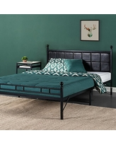 Zinus Metal Platform Bed, Bed Frame with Faux Leather Square Stitched Upholstered Headboard, Twin