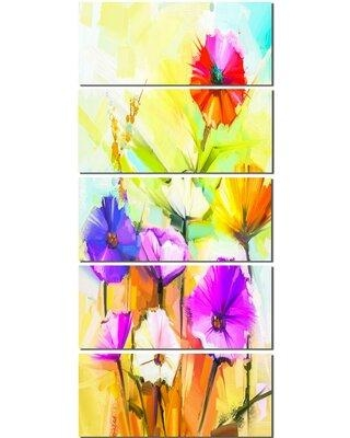 Design Art 'Colorful Gerbera Flowers' 5 Piece Painting Print on Wrapped Canvas Set PT14140-401V