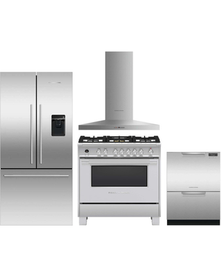Fisher & Paykel Active Smart 4 Piece Kitchen Appliances Package with French Door Refrigerator, Dual Fuel Range and Dishwasher in Stainless Steel Stain