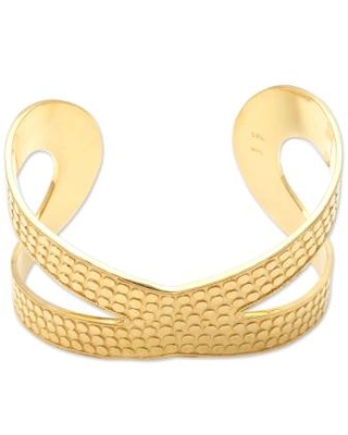 Hand Crafted Gold-Plated Sterling Silver Cuff Bracelet