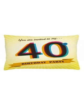 "40Th Birthday Indoor / Outdoor Lumbar Pillow Cover East Urban Home Size: 16"" x 36"""