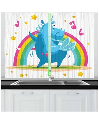 Unicorn Party 2 Piece Kitchen Curtain Set East Urban Home