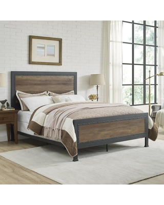 Walker Edison Furniture Company Queen Size Rustic Oak Industrial Wood and Metal Bed