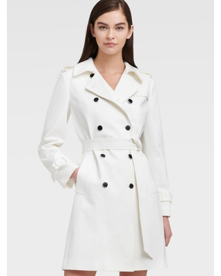 DKNY Women's Belted Trench Coat - Ivory - Size XS
