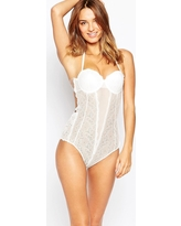 Fashion Forms Lace Backless Strapless Bridal Bodysuit - White