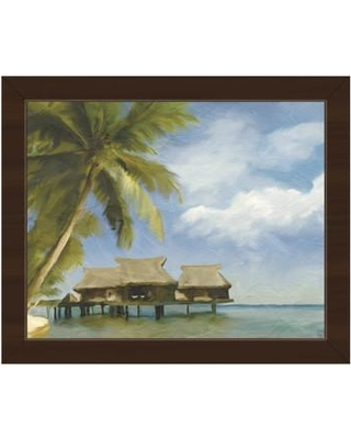 """Click Wall Art 'Tropical Beach House' Framed Painting Print BHS0000513FRA Size: 18.5"""" H x 22.5"""" W Format: Espresso Framed"""