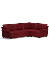 Townsend Roll Arm Leather Left Arm 3-Piece Corner Sectional, Polyester Wrapped Cushions, Leather Signature Berry Red