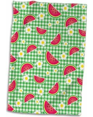 Sweet Savings On Symple Stuff Cripe Cute Watermelon Slices And And Daisy Flowers On Gingham Plaid Hand Towel X111802030