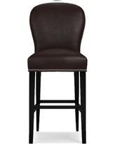 Maxwell Bar Stool w/Handle Tuscan Leather Solid Chocolate Polished Nickel