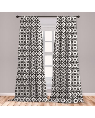 Ambesonne Moroccan Window Curtains, Monochrome Pattern Oriental Architecture Inspired Design Oval Symmetric, Lightweight Decorative Panels Set Of 2 Wi