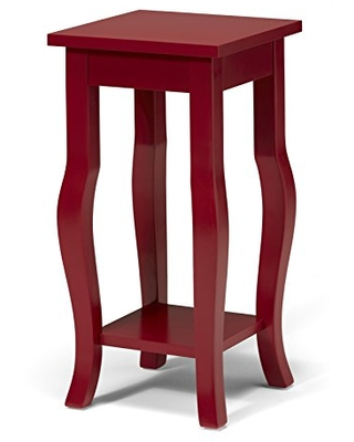 Kate and Laurel Lillian Wood Pedestal End Table with Curved Legs and Shelf, Red