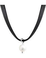 Silpada 'High Tide' Leather Choker Necklace with 8-8.5 mm Freshwater Pearl in Sterling Silver
