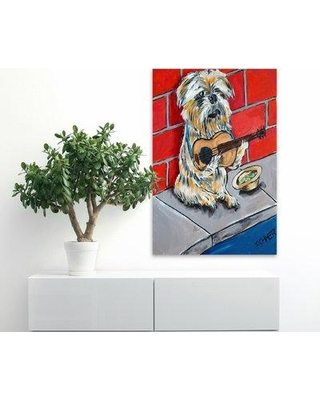 "Latitude Run 'Brussels Griffon Guitar' Painting Print on Wrapped Canvas LRUN7761 Size: 60"" H x 40"" W"