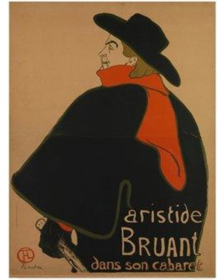 "Trademark Art 'Aristide Bruant at His Cabaret' Oil Painting Print on Wrapped Canvas BL02037-CGG Size: 19"" H x 14"" W x 2"" D"