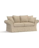 "Charleston Slipcovered Sofa 86"", Polyester Wrapped Cushions, Twill Parchment"