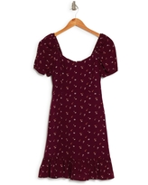 MELLODAY Short Sleeve Floral Mini Dress, Size X-Small in Wine at Nordstrom Rack