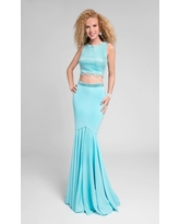 Terani Couture - Two-Piece Ornate Bateau Mermaid Gown 1711P2687