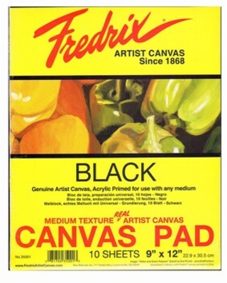 Fredrix Black Canvas Pads, 9In X 12In, 10 Sheets/Pack, 2/Packs (35550-Pk2) | Quill