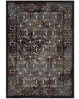Modway Westia Ornate Turkish 5x8 Vintage Area Rug in Dark Brown and Silver Blue