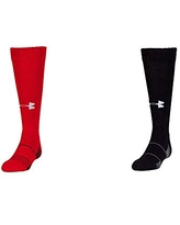 Under Armour Unisex-Child Team Over-The-Calf Socks, 1-Pair, Shoe Size: Youth 1-4, Red/White and Unisex-Child Team Over-The-Calf Socks, 1-Pair, Shoe Size: Youth 1-4, Black/White