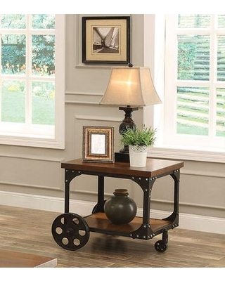 BM184886 Industrial Style Solid Wooden End Table With Metal Accents & Wheels