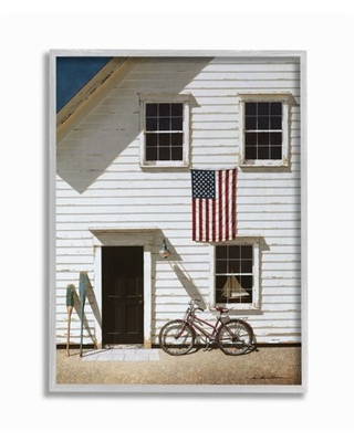 Stupell Industries Americana Cape House Front Vintage Realistic Painting Framed Wall Art Design by Zhen-Huan Lu