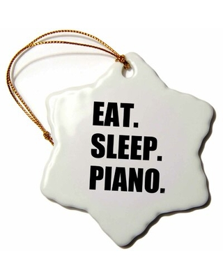 Eat Sleep Piano Gift for Pianist Playing Musicians Music Snowflake Holiday Shaped Ornament