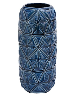Benzara Antique Colonial Ceramic Crackled Blue Vase-59911