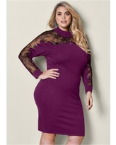 """Plus Size Lace Detail Sweater Dress - Black/purple"""