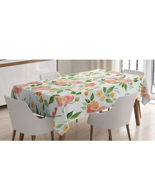 Ambesonne Floral Tablecloth, Flower Petals Blossoms Leaves And Bird Sitting Vintage Inspired Image, Rectangular Table Cover For Dining Room Kitchen De