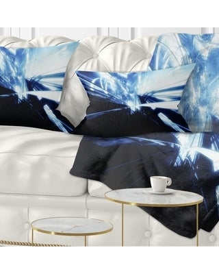 Designart '3D Abstract Art Blue Black' Abstract Throw Pillow (Rectangle - 12 in. x 20 in. - Medium)