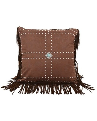 HiEnd Accents Faux Leather Fringe Square Throw Pillow in Brown