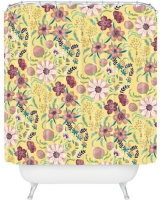 Bungalow Rose Igourdane Canary Floral Single Shower Curtain BNGL3866