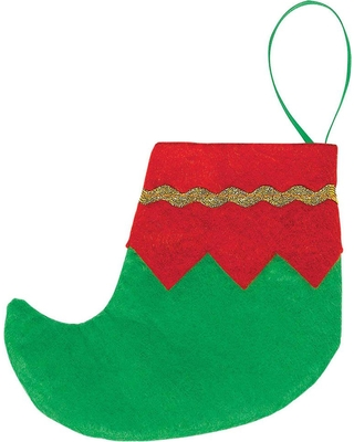 Amscan 4.5 in. Felt Mini Elf Red and Green Christmas Stockings with Gold Trim (6-Count, 4-Pack), Green; Red